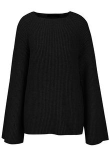 Čierny rebrovaný sveter so širokými rukávmi VERO MODA Camarillo