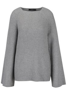 Šedý žebrovaný svetr s širokými rukávy VERO MODA Camarillo