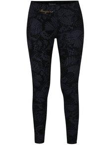Černé sportovní vzorované legíny s pásky na nohavicích Desigual Sport