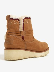 Hnedé dámske zimné členkové topánky v semišovej úprave na platforme s.Oliver