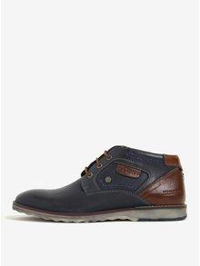 Tmavě modré pánské kožené kotníkové boty s.Oliver
