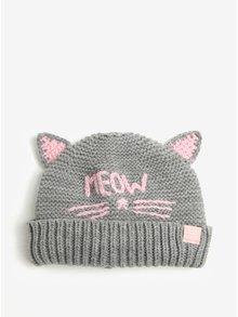 Sivá dievčenská čiapka v tvare mačky Tom Joule