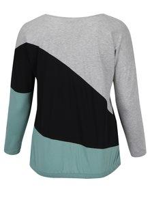 Černo-šedé tričko s dlouhým rukávem Ulla Popken