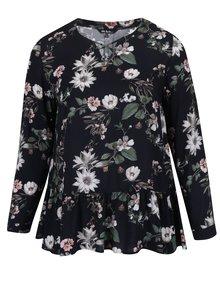 Bluza neagra cu volane, barete incrucisate si model floral Ulla Popken