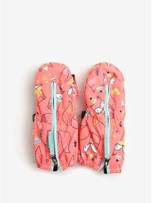 Neonově oranžové holčičí vzorované funkční zimní palčáky Roxy Snow´s Up