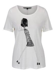 Krémové tričko s potlačou VERO MODA Chick