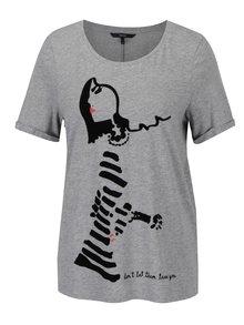 Šedé tričko se sametovým motivem postavy VERO MODA Chick