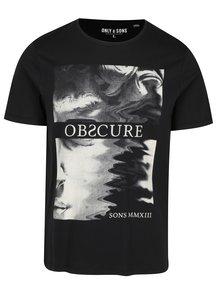 Černé tričko s potiskem ONLY & SONS Malone