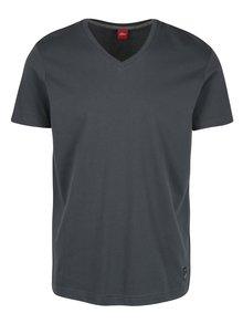 Tmavě šedé pánské slim fit tričko s.Oliver