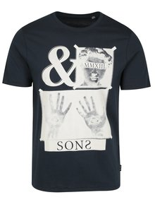Modré tričko s potiskem ONLY & SONS Malone