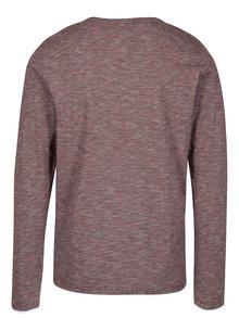 Bílo-vínové pánské pruhované regular fit tričko s.Oliver