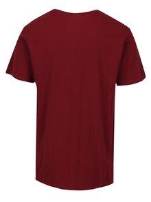 Vínové pánske modern fit tričko s potlačou Quiksilver Clean Turn