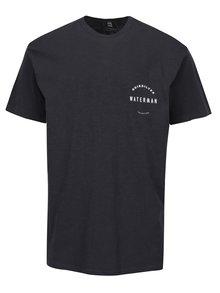 Tricou gri inchis&alb cu print pentru barbati Quiksilver Water Defined