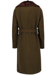 Palton kaki de primavara / toamna cu guler din blana artificiala - VERO MODA Prague