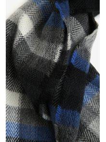 Modro-šedá pánská kostkovaná šála s.Oliver