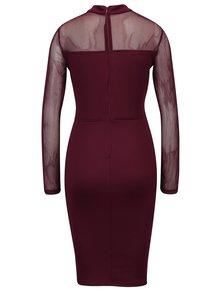 Vínové puzdrové šaty so sieťovanými detailmi AX Paris
