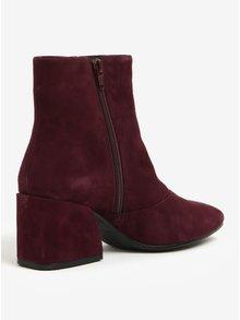 Vínové dámske semišové členkové topánky na podpätku Vagabond Olivia
