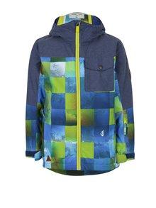 Zeleno-modrá chlapčenská vzorovaná zimná vodovzdorná funkčná bunda Quiksilver Miss