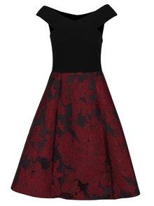 Černé šaty s vínovou květovanou sukní Ax Paris