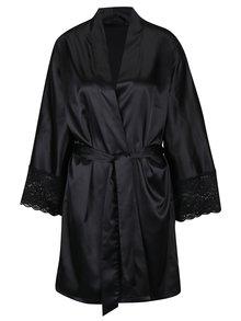 Černý saténový župan s krajkovými detaily Eden Lingerie