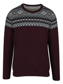Pulover barbatesc bordo cu motiv norvegian - Selected Homme Christ