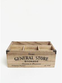 Hnědý dřevěný úložný box s přihrádkami SIFCON