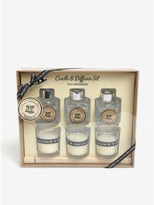 Darčeková súprava troch sviečok a difuzérov s vôňou čerstvo vypranej bielizne SIFCON