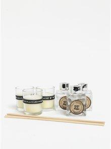 Dárkový set tří svíček a difuzérů s vůní čerstvě vypraného prádla SIFCON