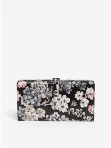 Krémovo-čierna dámska cestovná peňaženka s kvetmi Cath Kidston
