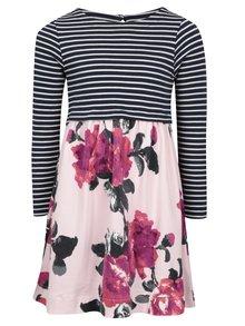 Modro-růžové holčičí šaty s pruhovaným topem Tom Joule Layala