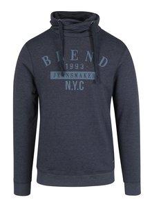 Tmavě modrá regular fit mikina s vysokým límcem Blend