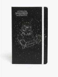 Černý denní diář na rok 2018 v pevné vazbě Moleskine Star Wars