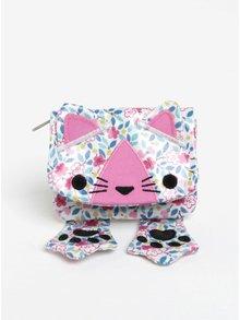Biela dievčenská kvetovaná peňaženka v tvare mačky Cath Kidston