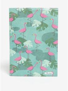 Carnet verde & roz cu print I like paper A5
