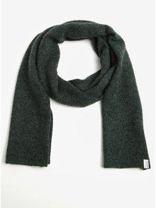 Fular elegant verde inchis melanj cu amestec de lana - Selected Homme Cali