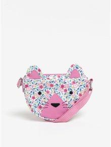 Bielo-ružová dievčenská crossbody kabelka v tvare mačky Cath Kidston