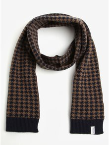 Fular din amestec de lana cu model houndstooth bleumarin & maro - Selected Homme Mason