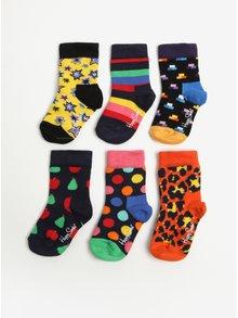 Súprava šiestich párov detských ponožiek v modrej, žltej a červenej farbe Happy Socks Gift Box