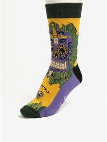 Zeleno-žlté vzorované pánske ponožky Happy Socks Sword Skull