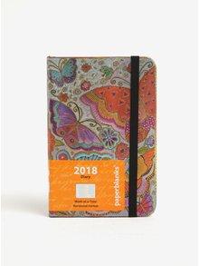 Oranžovo-šedý vzorovaný diář 2018 Paperblanks Flutterbyes
