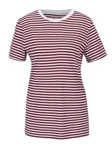 Bílo-cihlové pruhované tričko Selected Femme