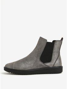 Sivé metalické kožené chelsea topánky OJJU