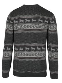 Pulover barbatesc gri cu motiv norvegian - Selected Homme New Reindeer