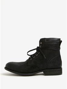 Čierne pánske kožené členkové topánky ALDO Derrian