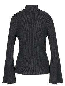 Tmavosivé melírované rebrované tričko s rolákom ONLY Alma