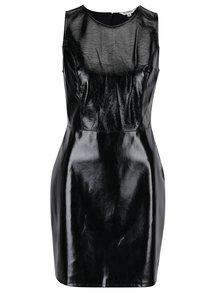 Černé lesklé koženkové šaty bez rukávů Miss Selfridge