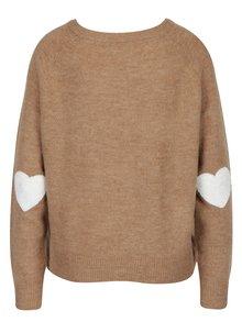 Hnědý žíhaný svetr s nášivkami ONLY Bruxelles