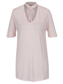Tricou roz lung cu decolteu si choker -  Miss Selfridge