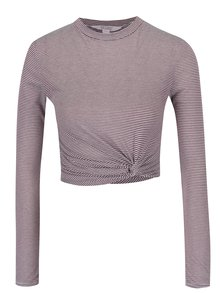 Bluza crop top cu dungi mov & crem -  Miss Selfridge Petites