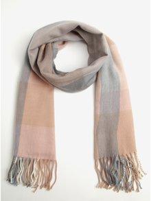 Ružovo–modrý kockovaný dlhý šál so strapcami Miss Selfridge